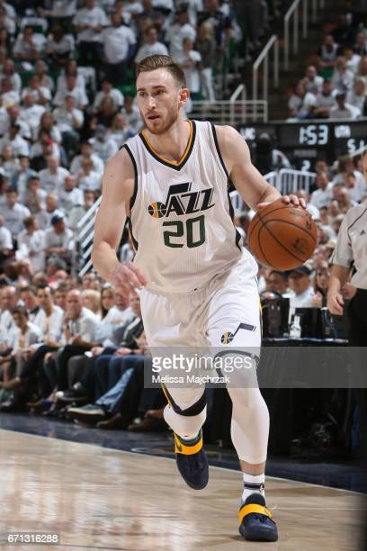 Gordon Hayward of the Utah Jazz handles the ball against the LA Clippers during Game Three of the Western Conference Quarterfinals of the 2017 NBA...