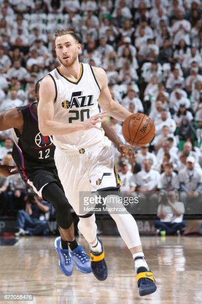 Gordon Hayward of the Utah Jazz handles the ball against the LA Clippers during Game Four of the Western Conference Quarterfinals of the 2017 NBA...