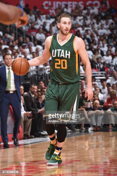Gordon Hayward of the Utah Jazz handles the ball against the LA Clippers in Game Five of the Western Conference Quarterfinals of the 2017 NBA...