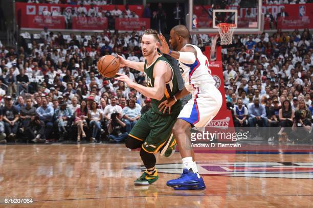 Gordon Hayward of the Utah Jazz handles the ball against the LA Clippers during Game Seven of the Western Conference Quarterfinals of the 2017 NBA...