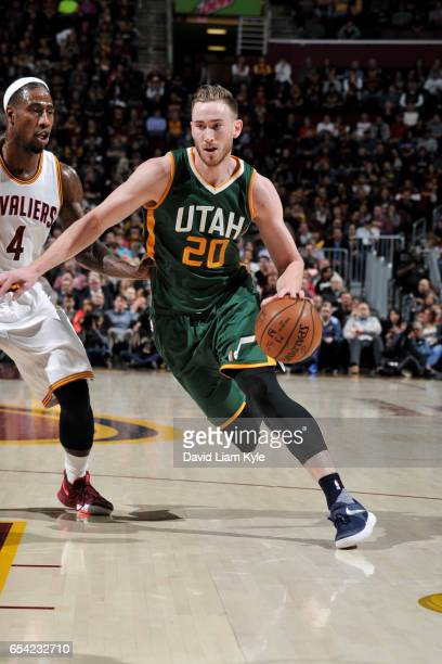 Gordon Hayward of the Utah Jazz handles the ball against the Cleveland Cavaliers during the game on March 16 2017 at Quicken Loans Arena in Cleveland...