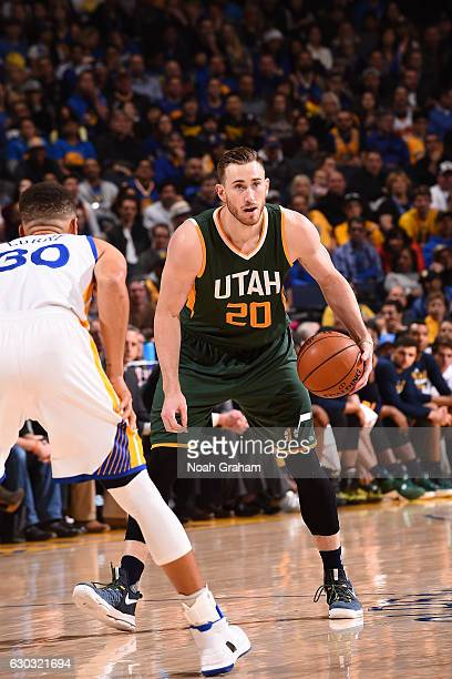 Gordon Hayward of the Utah Jazz handles the ball against the Golden State Warriors on December 20 2016 at ORACLE Arena in Oakland California NOTE TO...