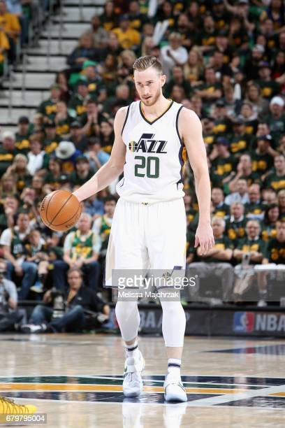 Gordon Hayward of the Utah Jazz handles the ball against the Golden State Warriors during Game Three of the Western Conference Semifinals of the 2017...