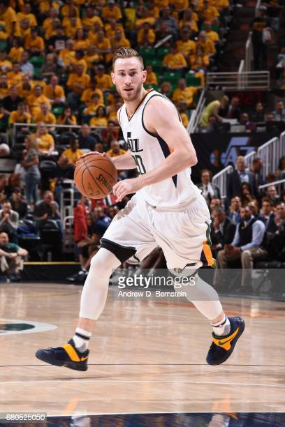 Gordon Hayward of the Utah Jazz handles the ball against the Golden State Warriors during Game Four of the Western Conference Semifinals of the 2017...