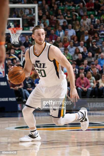 Gordon Hayward of the Utah Jazz handles the ball against the New York Knicks on March 22 2017 at vivintSmartHome Arena in Salt Lake City Utah NOTE TO...