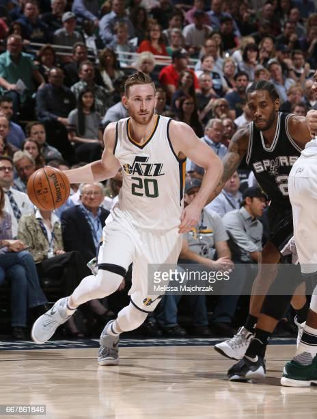 Gordon Hayward of the Utah Jazz handles the ball against the San Antonio Spurs during the game on April 12 2017 at vivintSmartHome Arena in Salt Lake...