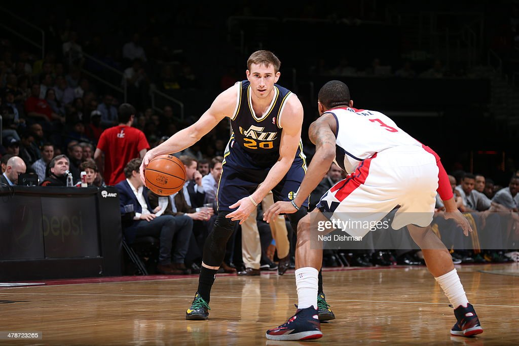 <a gi-track='captionPersonalityLinkClicked' href=/galleries/search?phrase=Gordon+Hayward&family=editorial&specificpeople=5767271 ng-click='$event.stopPropagation()'>Gordon Hayward</a> #20 of the Utah Jazz handles the ball against the Washington Wizards at the Verizon Center on March 5, 2014 in Washington, DC.