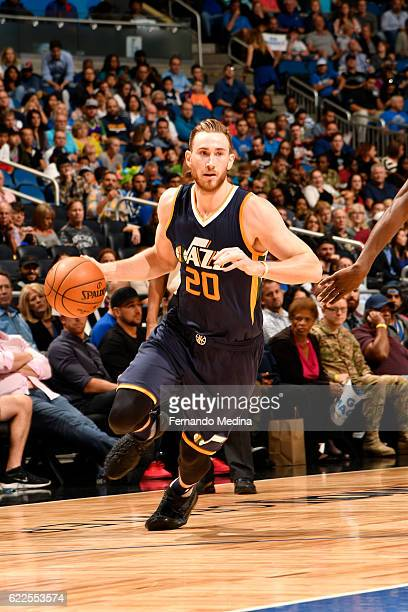 Gordon Hayward of the Utah Jazz handles the ball during a game against the Orlando Magic on November 11 2016 at the Amway Center in Orlando Florida...