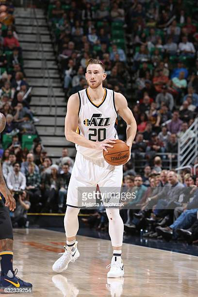 Gordon Hayward of the Utah Jazz handles the ball during a game against the Indiana Pacers on January 21 2017 at vivintSmartHome Arena in Salt Lake...