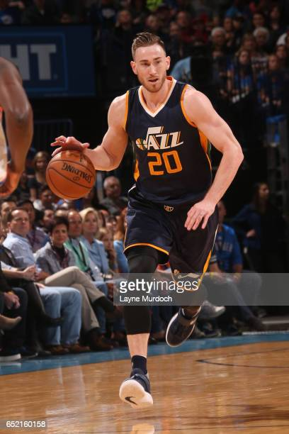 Gordon Hayward of the Utah Jazz handles the ball during a game against the Oklahoma City Thunder on March 11 2017 at Chesapeake Energy Arena in...