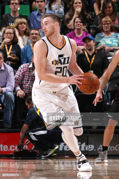 Gordon Hayward of the Utah Jazz handles the ball during the game against the Los Angeles Clippers on March 13 2017 at EnergySolutions Arena in Salt...