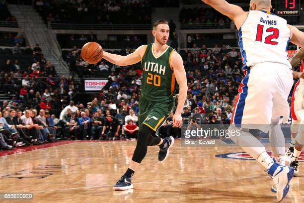 Gordon Hayward of the Utah Jazz handles the ball during the game against the Detroit Pistons on March 15 2017 at The Palace of Auburn Hills in Auburn...