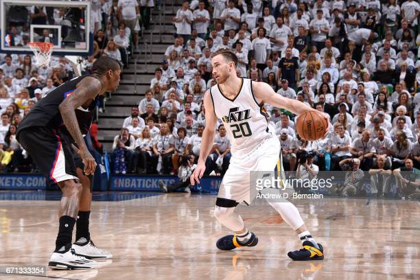 Gordon Hayward of the Utah Jazz handles the ball during the game against the Los Angeles Clippers during the Western Conference Quarterfinals of the...