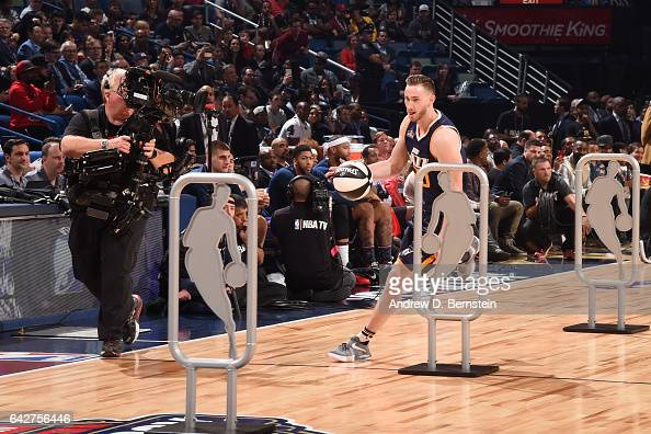 Gordon Hayward of the Utah Jazz handles the ball during the Taco Bell Skills Challenge during State Farm AllStar Saturday Night as part of the 2017...