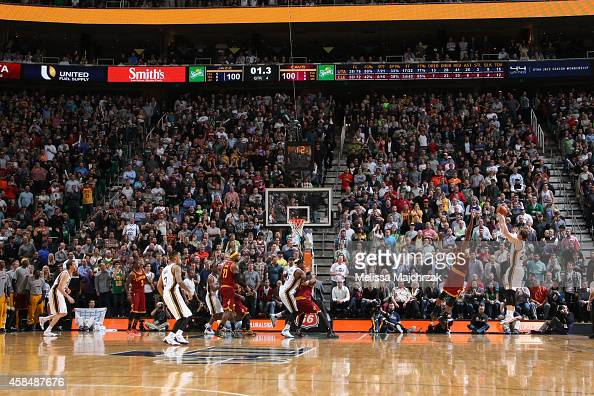 Gordon Hayward of the Utah Jazz hits a game winning shot against the Cleveland Cavaliers during the game at EnergySolutions Arena on November 5 2014...