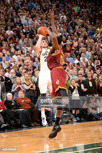 Gordon Hayward of the Utah Jazz hits the game winning shot against the Cleveland Cavaliers at EnergySolutions Arena on November 5 2014 in Salt Lake...