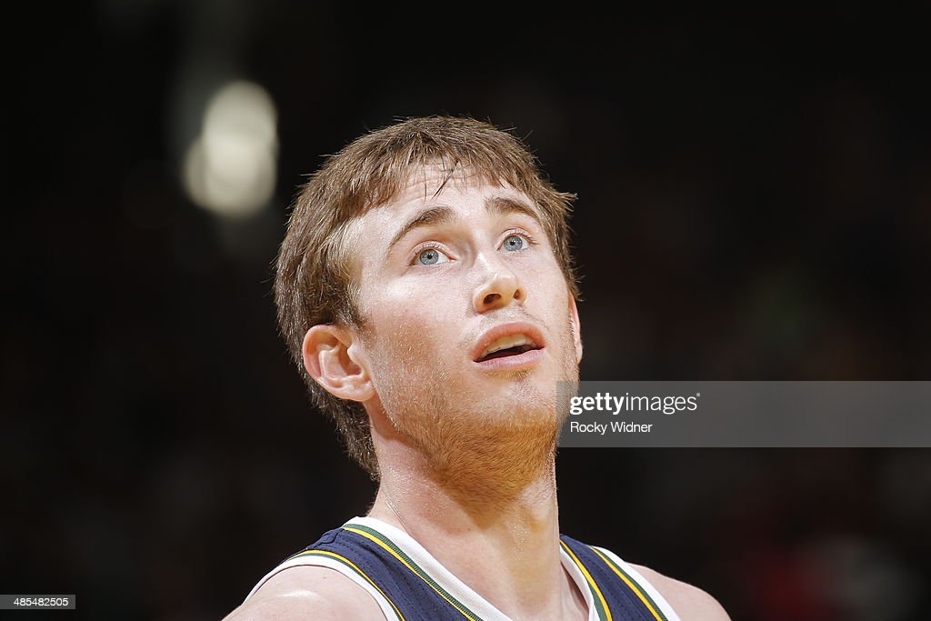 <a gi-track='captionPersonalityLinkClicked' href=/galleries/search?phrase=Gordon+Hayward&family=editorial&specificpeople=5767271 ng-click='$event.stopPropagation()'>Gordon Hayward</a> #20 of the Utah Jazz in a game against the Golden State Warriors on April 6, 2014 at Oracle Arena in Oakland, California.