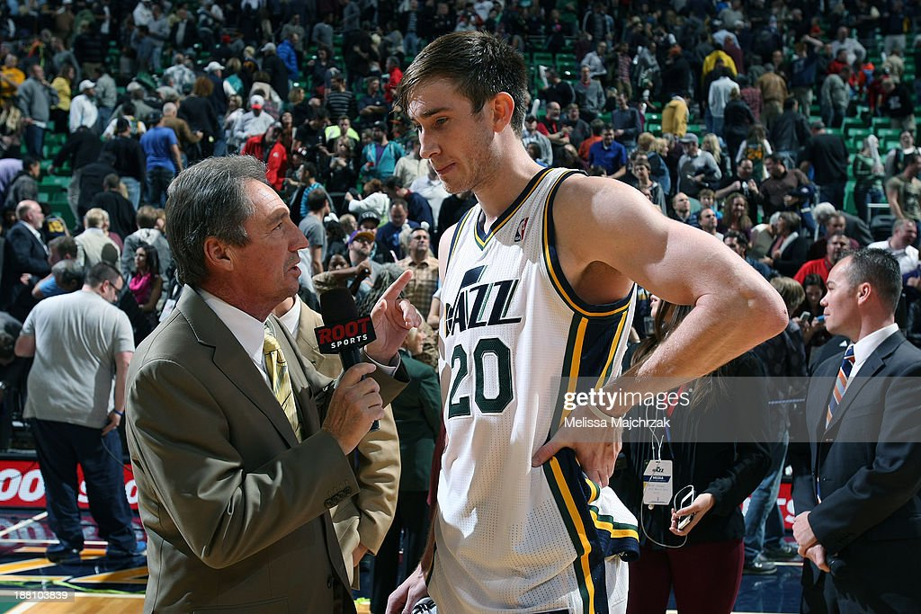 <a gi-track='captionPersonalityLinkClicked' href=/galleries/search?phrase=Gordon+Hayward&family=editorial&specificpeople=5767271 ng-click='$event.stopPropagation()'>Gordon Hayward</a> #20 of the Utah Jazz is interviewed following a victory over the New Orleans Pelicans at EnergySolutions Arena on November 13, 2013 in Salt Lake City, Utah.