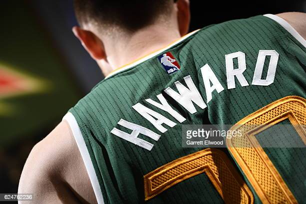 Gordon Hayward of the Utah Jazz is seen against the Denver Nuggets on November 20 2016 at the Pepsi Center in Denver Colorado NOTE TO USER User...