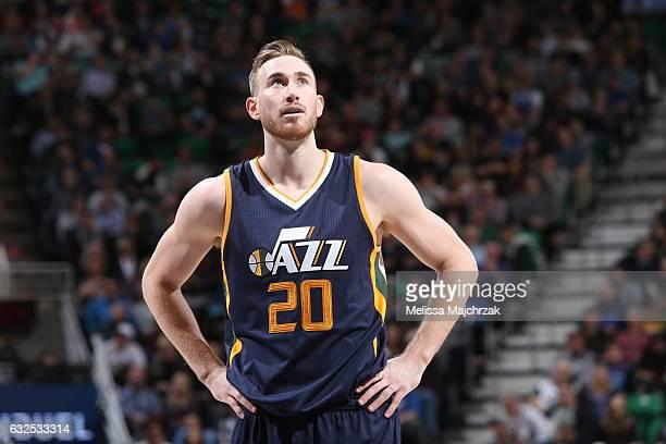 Gordon Hayward of the Utah Jazz is seen against the Oklahoma City Thunder on January 23 2017 at vivintSmartHome Arena in Salt Lake City Utah NOTE TO...