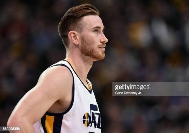 Gordon Hayward of the Utah Jazz looks on against the Golden State Warriors in Game Three of the Western Conference Semifinals during the 2017 NBA...