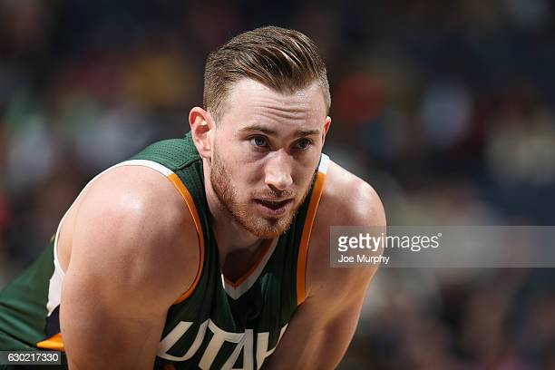 Gordon Hayward of the Utah Jazz looks on during a game against the Memphis Grizzlies on December 18 2016 at FedExForum in Memphis Tennessee NOTE TO...