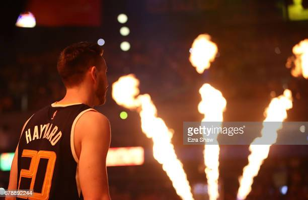 Gordon Hayward of the Utah Jazz looks on during pregame introductions against the Golden State Warriors Game Two of the NBA Western Conference...