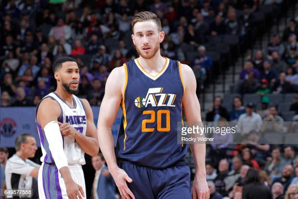 Gordon Hayward of the Utah Jazz looks on during the game against the Sacramento Kings on March 5 2017 at Golden 1 Center in Sacramento California...