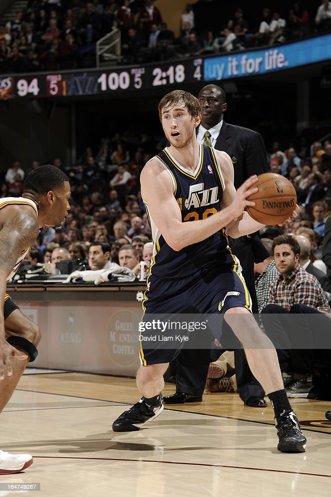 <a gi-track='captionPersonalityLinkClicked' href=/galleries/search?phrase=Gordon+Hayward&family=editorial&specificpeople=5767271 ng-click='$event.stopPropagation()'>Gordon Hayward</a> #20 of the Utah Jazz looks to drive to the basket against the Cleveland Cavaliers at The Quicken Loans Arena on March 6, 2013 in Cleveland, Ohio.