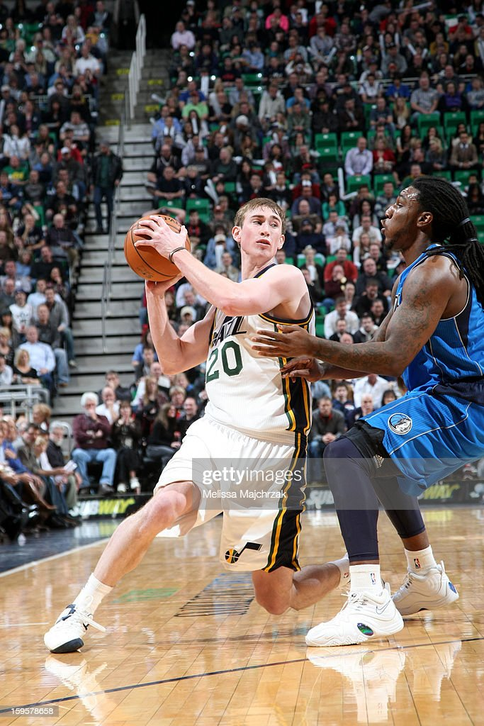 <a gi-track='captionPersonalityLinkClicked' href=/galleries/search?phrase=Gordon+Hayward&family=editorial&specificpeople=5767271 ng-click='$event.stopPropagation()'>Gordon Hayward</a> #20 of the Utah Jazz looks to pass the ball against the Dallas Mavericks on January 7, 2013 in Salt Lake City, Utah.