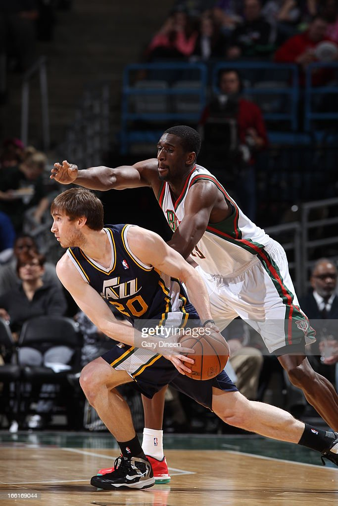 <a gi-track='captionPersonalityLinkClicked' href=/galleries/search?phrase=Gordon+Hayward&family=editorial&specificpeople=5767271 ng-click='$event.stopPropagation()'>Gordon Hayward</a> #20 of the Utah Jazz looks to pass the ball against the Milwaukee Bucks on March 4, 2013 at the BMO Harris Bradley Center in Milwaukee, Wisconsin.