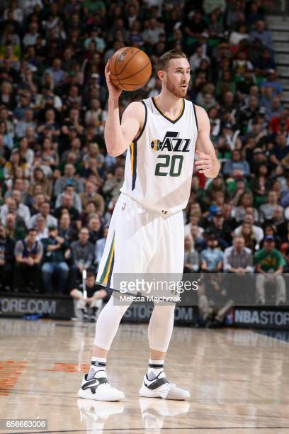 Gordon Hayward of the Utah Jazz looks to pass the ball against the New York Knicks on March 22 2017 at vivintSmartHome Arena in Salt Lake City Utah...
