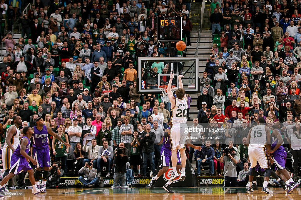 Gordon Hayward #20 of the Utah Jazz makes the game-winning shot in the fourth quarter against the Sacramento Kings at Energy Solutions Arena on November 23, 2012 in Salt Lake City, Utah.