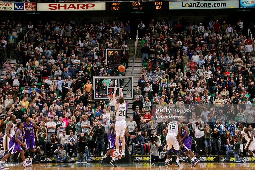 Gordon Hayward #20 of the Utah Jazz makes the game-winning shot in the fourth quarter against the Sacramento Kings at Energy Solutions Arena on November 23, 2012 in Salt Lake City, Utah.