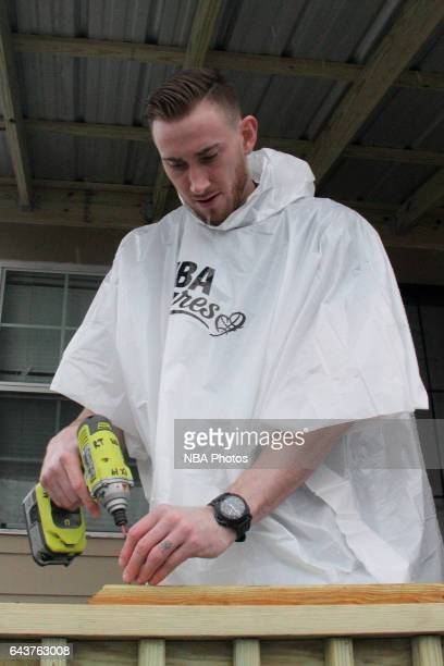 Gordon Hayward of the Utah Jazz participates during the NBA Cares Day of Service as part of 2017 AllStar Weekend at the KaBOOM Rebuilding Together at...