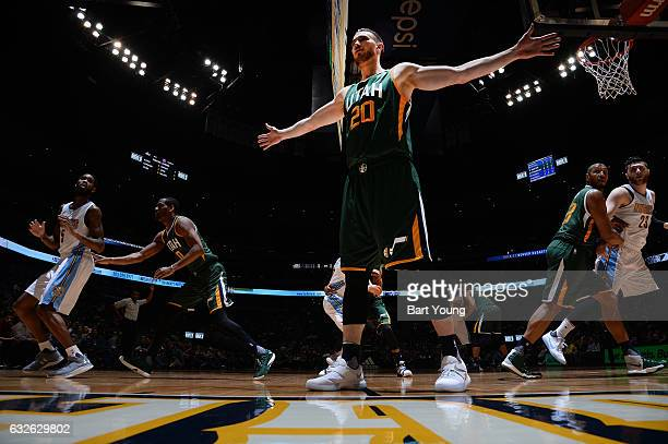 Gordon Hayward of the Utah Jazz plays defense on the inbound pass during the game against the Denver Nuggets on January 24 2017 at the Pepsi Center...