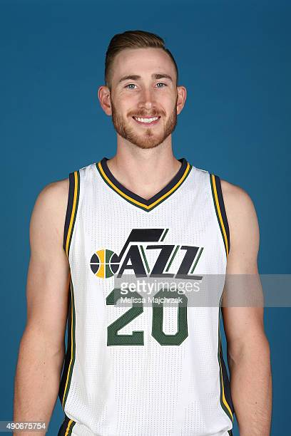 Gordon Hayward of the Utah Jazz poses for a photo during Media Day at Zions Basketball Center on September 28 2015 in Salt Lake City Utah NOTE TO...