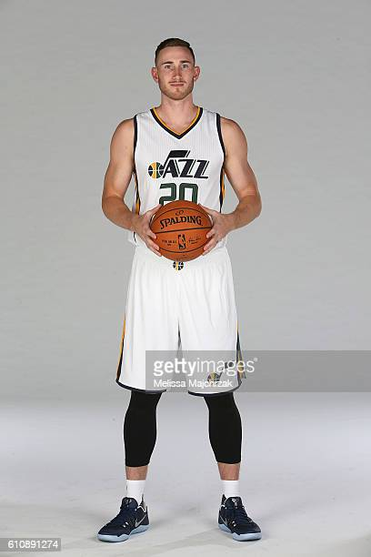 Gordon Hayward of the Utah Jazz poses for a photo during the 20162017 Utah Jazz media day at Zions Bank Basketball Center on September 26 2016 in...