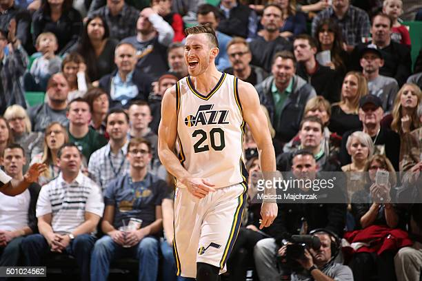 Gordon Hayward of the Utah Jazz reacts after a play against the Oklahoma City Thunder during the game on December 11 2015 at Vivint Smart Home Arena...