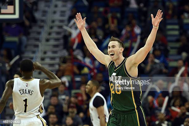 Gordon Hayward of the Utah Jazz reacts to a three point shot during the second half of a game against the New Orleans Pelicans at the Smoothie King...