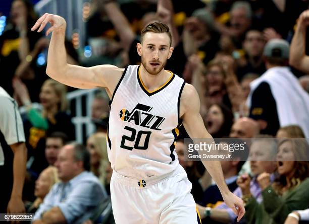 Gordon Hayward of the Utah Jazz reacts to his late game three point basket during their 10291 loss to the Golden State Warriors in Game Three of the...