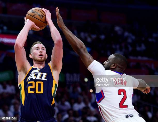 Gordon Hayward of the Utah Jazz scores on a fadeaway jumper past Raymond Felton of the LA Clippers during a 9795 Jazz win at Staples Center on April...