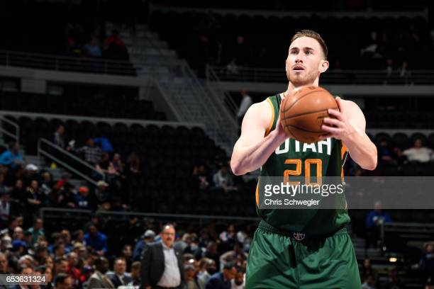 Gordon Hayward of the Utah Jazz shoots a free throw during the game against the Detroit Pistons on March 15 2017 at The Palace of Auburn Hills in...