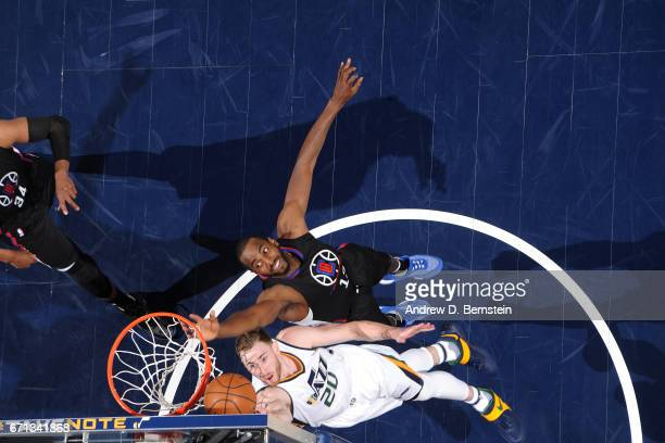 Gordon Hayward of the Utah Jazz shoots a lay up during the game against the Los Angeles Clippers during the Western Conference Quarterfinals of the...