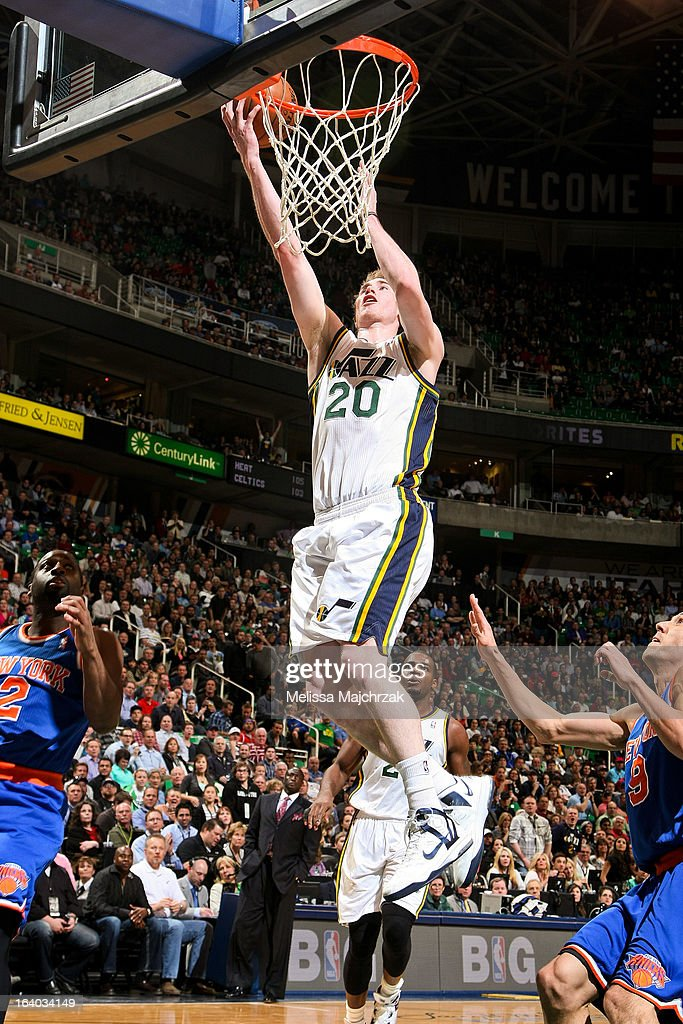 <a gi-track='captionPersonalityLinkClicked' href=/galleries/search?phrase=Gordon+Hayward&family=editorial&specificpeople=5767271 ng-click='$event.stopPropagation()'>Gordon Hayward</a> #20 of the Utah Jazz shoots a layup against the New York Knicks at Energy Solutions Arena on March 18, 2013 in Salt Lake City, Utah.