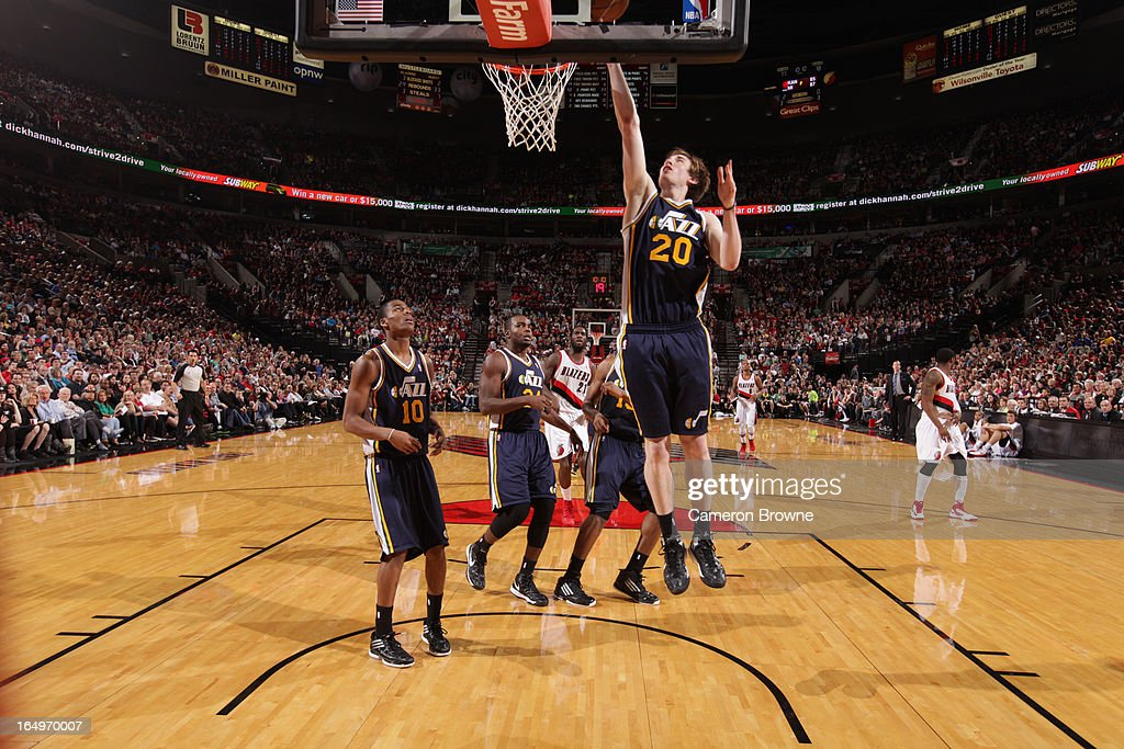 <a gi-track='captionPersonalityLinkClicked' href=/galleries/search?phrase=Gordon+Hayward&family=editorial&specificpeople=5767271 ng-click='$event.stopPropagation()'>Gordon Hayward</a> #20 of the Utah Jazz shoots a layup against the Portland Trail Blazers on March 29, 2013 at the Rose Garden Arena in Portland, Oregon.