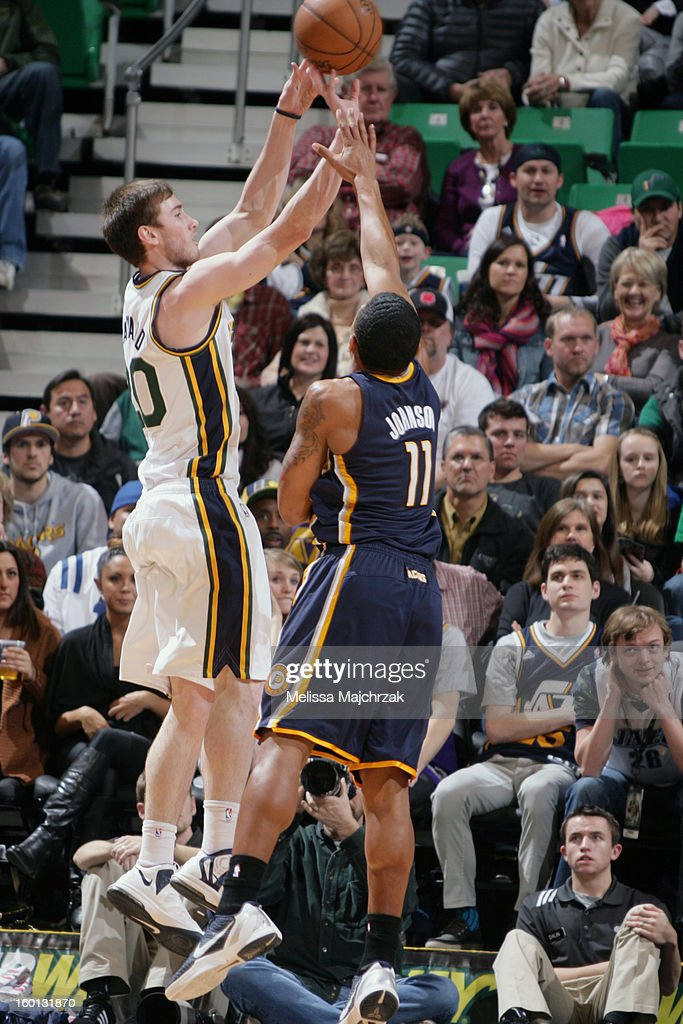Gordon Hayward #20 of the Utah Jazz shoots a three-pointer against Orlando Johnson #11 of the Indiana Pacers at Energy Solutions Arena on January 26, 2013 in Salt Lake City, Utah.