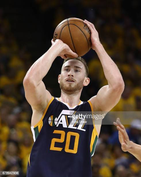 Gordon Hayward of the Utah Jazz shoots against the Golden State Warriors during Game Two of the NBA Western Conference SemiFinals at ORACLE Arena on...