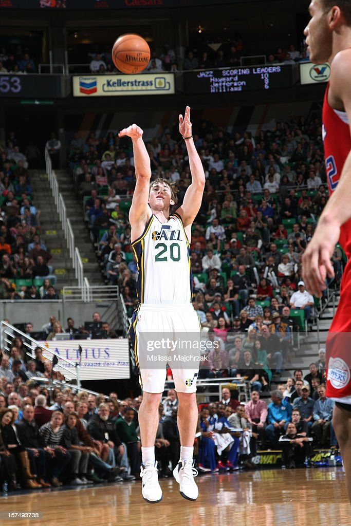 <a gi-track='captionPersonalityLinkClicked' href=/galleries/search?phrase=Gordon+Hayward&family=editorial&specificpeople=5767271 ng-click='$event.stopPropagation()'>Gordon Hayward</a> #20 of the Utah Jazz shoots against the Los Angeles Clippers at Energy Solutions Arena on December 03, 2012 in Salt Lake City, Utah.
