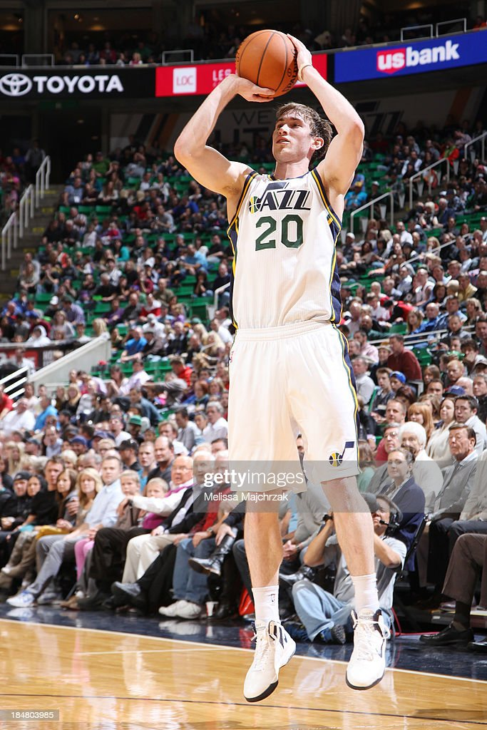 <a gi-track='captionPersonalityLinkClicked' href=/galleries/search?phrase=Gordon+Hayward&family=editorial&specificpeople=5767271 ng-click='$event.stopPropagation()'>Gordon Hayward</a> #20 of the Utah Jazz shoots against the Portland Trail Blazers at EnergySolutions Arena on October 16, 2013 in Salt Lake City, Utah.
